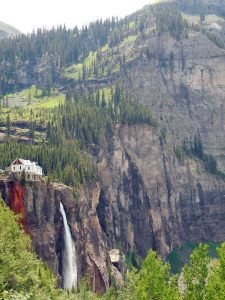 Bridal Veil Falls in Telluride. The first climb in the Telluride 100 MTB. Photo: Jeff Kerkove