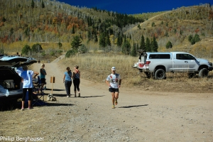 Tim zipping into mile 30 aid station at Bear 100. And then the race was over at mile 52. Photo: Phil Berghauser